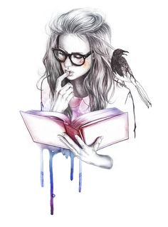 Nerd girl reading drawing with watercolour drips
