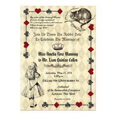 Alice In Wonderland Wedding Invitation Invitations Vintage
