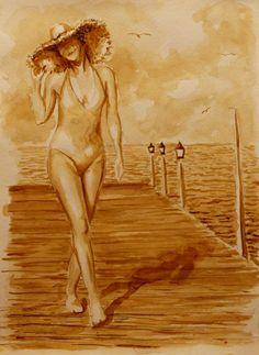 Картина нарисованная кофе 30х21 «Прогулка у моря» | Andrew Pugach