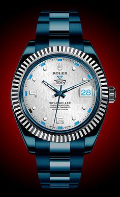 Rolex Sky-Dweller re-imagined with artistic license in our Watch What-If series where we playfully wonder how iconic watches might have been Dream Watches, Men's Watches, Cool Watches, Wrist Watches, Watches Online, Fashion Watches, Sky Dweller, Der Gentleman, Gentleman Watch