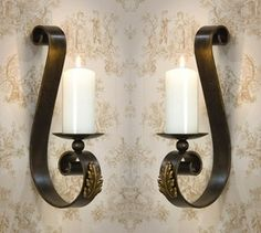 ME2220 - Acanthus Leaf Bronze Iron with Brass Medallion Wall Sconce, Set of 2 - Candle Holders