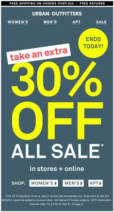 Pinned September 22nd: Extra 30% off sale items today at #Urban Outfitters, ditto online #coupon via The Coupons App