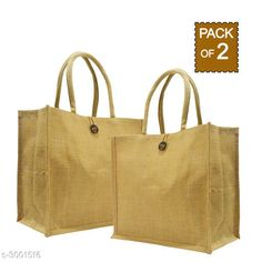 Checkout this latest Handbags Set Product Name: *Attractive Women's Beige Jute Handbag* Water Resistant: No No. Of Main Compartments: 1 Sling Type: Non Detachable Sling Strap Print Or Pattern Type: Solid Multipack: 2 Country of Origin: India Easy Returns Available In Case Of Any Issue   Catalog Rating: ★4.2 (774)  Catalog Name: Ensemble Attractive Jute Shopping Bags Vol 19 CatalogID_409838 C73-SC1073 Code: 352-3001516-984