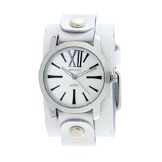 Nemesis Women's WGB065W Exclusive Collection Roman White Leather Cuff Watch Nemesis. $39.00. Durable mineral crystal. Stainless Steel Case. Quartz movement. Case diameter: 38 mm. Water-resistant to 99 feet (30 M)