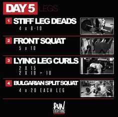 That's right, its DAY 5 and we are hitting LEGS again this week.  But not to worry, not quite as heavy today, especially on squats today, because today we are d
