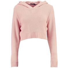 Boohoo Nicola Hooded Crop Jumper | Boohoo ($18) ❤ liked on Polyvore featuring tops, sweaters, sequined sweater, pink cropped sweater, pink knit sweater, sequin crop tops and hooded knit sweater