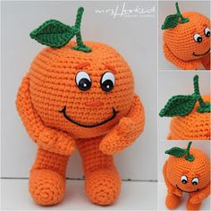 It's a Mandarin Orange guy but could easily e made into a Pumpkin guy Crochet Fruit, Crochet Food, Crochet For Kids, Diy Crochet, Crochet Dolls, Crochet Hats, Amigurumi Toys, Amigurumi Patterns, Doll Patterns