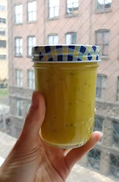Mango-Mustard Low Fat Salad Dressing.         1 cup fresh, ripe mango chunks,   1 1/2 tsp tahini,   2 T best-quality Dijon mustard,   2 T relish,   About 2 T water,   Salt to taste [I used about 1 tsp]     Makes a one cup.    Whiz everything in the food processor or blender until very smooth.