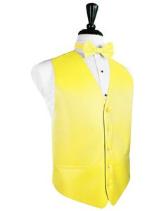 Sunbeam Yellow Herringbone Tuxedo Vest Sunbeam 5 Button Front Tuxedo Vest Subtle Herringbone Pattern Faux Besom Pockets Full Back Design Available with Matching Bow Tie or Long Tie Available in Long Sizes for Gentleman 6'1