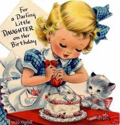 Darling Girl Vintage Birthday card. #cake