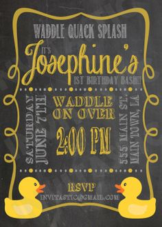 Rubber Duck Birthday Invitation Chalkboard by InvitasticInvites, $10.00
