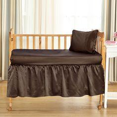 19 Momme Silk Crib Bedding Set-Chocolate
