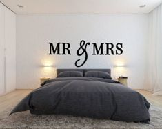 Mr & Mrs Wall Sign Above Bed Decor Mr and Mrs by ZCreateDesign