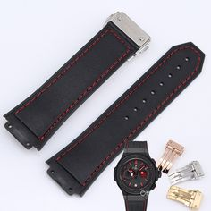 Men's watch with 19MM convex black red thread leather strap folding buckle for HUB big bang 318.CI.1123.GR.FLM11