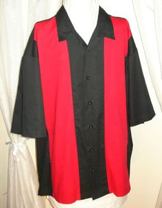 Mouse over image to zoom    Sell one like this  Retro 50's Style Red & Black Two Tone Lounge Bowling Rockabilly Mens Shirt 2XL