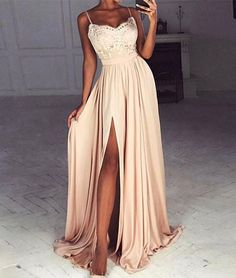 Champagne sweetheart lace long prom dress, formal dress