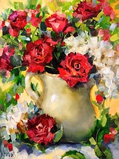 A Million Kisses Red Roses by Texas Flower Artist Nancy Medina, painting by… Art Floral, Floral Watercolor, Flower Artists, Painter Artist, Tulips Flowers, Still Life Art, Pictures To Paint, Red Roses, Black Roses