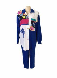 Vintage 1980's Teddi Multicolor Long Sleeve Blouse and Pant Set Size 18 | eBay