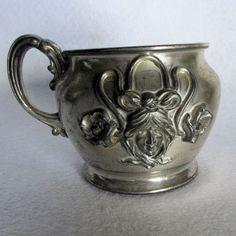 c1903 Art Nouveau Shaving Mug with Ladies Faces