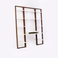 Ladder Shelf Desk + Narrow Bookshelf Set (White/Espresso)