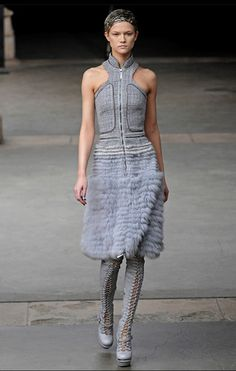 Alexander McQueen Runway Gorgeous 38 Grey Fur Mink Fox Dress $23 000 2011 2012 | eBay