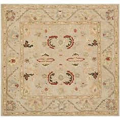 Safavieh Anatolia Collection AN570A Handmade Beige and Beige Hand-spun Wool Square Area Rug, 6 feet by 6 feet Square (6′ x 6′ Square) #handmade The Anatolia Collection evokes the old world style and quality with modern hand tufting techniques. These rugs bring traditional sophistication and the authentic look and feel of rugs from the Anatolia region. These rugs are made from 100-percent premium, hand-spun wool, and employ ancient pot-dying techniques to give them their authentic loo..