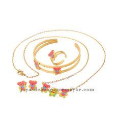 Juego completo (collar, aretes, anillo y pulsera) de OSO de esmalte en acero inoxidable