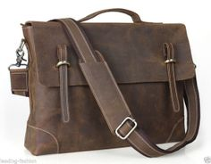 15'' Inches Laptop Bag, Leather Messenger Bag, Leather Briefcase, Leather Office Business Bag