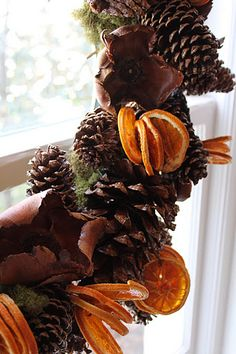 pinecone garland, dried oranges, and twigs!