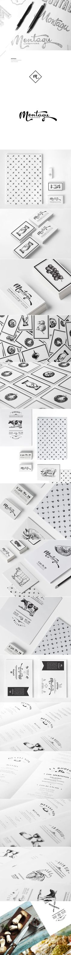 Montagu. Spanish-Mexican Restaurant / food / logo / branding / identity / packaging / business card / menu / black and white / lines / shapes / illustrations / animals