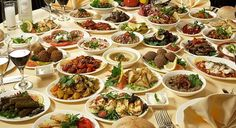 A table full of Armenian food. The dinner is always big with plenty of food and drinks