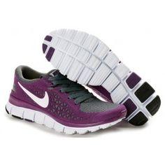 Newest Nike Free Run + Womens Running Shoes - Purple/Gray/White $65.80