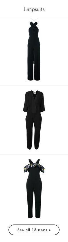 """Jumpsuits"" by bojana-687 ❤ liked on Polyvore featuring jumpsuits, black, norma kamali jumpsuit, norma kamali, jump suit, backless jumpsuits, v neck jumpsuit, patterned jumpsuit, short sleeve jumpsuit and peter pilotto"