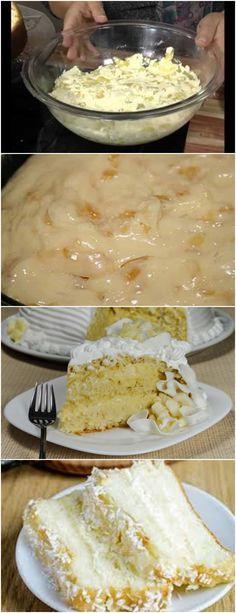 Bolo Trufado de Abacaxi..AMOOO VEJA AQUI>>> Bata os ovos, a margarina e o açúcar. 2 – Junte o leite morno e bata mais um pouco. #receita#bolo#torta#doce#sobremesa#aniversario#pudim#mousse#pave#Cheesecake#chocolate#confeitaria