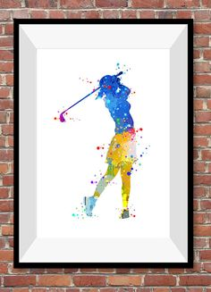 Golf Player Girl Young Woman Golfing Competition Watercolor Print Sport Art Wall Decor Christmas Anniversary Gift Living Room (N038) by PointDot on Etsy
