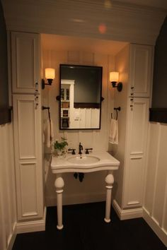 Pioneer Cabinetry, Painted Maple Fairfax Bath Cabinets, Bathroom Lighting, Mirror, Furniture, Home Decor, Bathroom Vanity Cabinets, Bathroom Light Fittings, Bathroom Vanity Lighting, Decoration Home