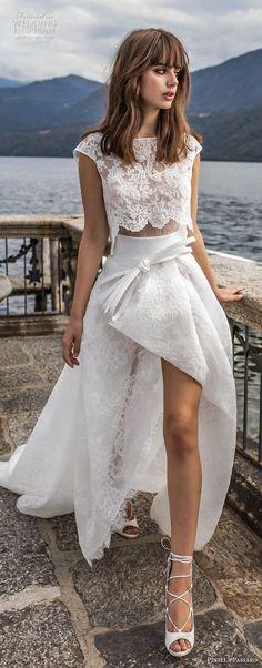 pinella passaro 2018 bridal cap sleeves bateau neck heavily embellished bodice crop top romantic high low a line wedding dress chapel train (5) mv -- Pinella Passaro 2018 Wedding Dresses