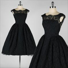 vintage 1950s dress . black chantilly lace . open back . cocktail dress . 3982