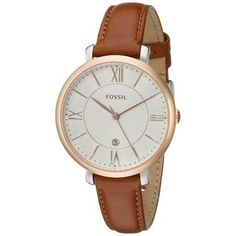 Fossil Women's ES3842 'Jacqueline' Brown Leather Watch - Free Shipping Today - Overstock.com - 17639227 - Mobile