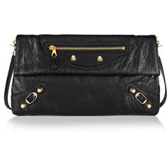 Balenciaga Envelope textured-leather shoulder bag (84.965 RUB) ❤ liked on Polyvore featuring bags, handbags, shoulder bags, black, purse, black crossbody purse, black purse, accessories handbags y studded shoulder bag