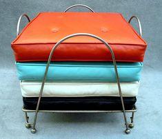 Mid-Century Modern •~• vintage black, orange, turquoise, & white floor cushions and holder