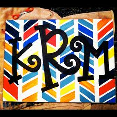 "Monogram Canvas Painting.. Looks like something you could easily do at home for a ""Painting with a Twist"" night! ;)"