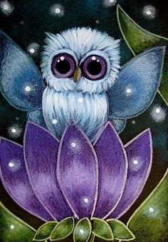 Tiny owl on purple flower by Artist Cyra R. Cute Owl Cartoon, Illustrations, Illustration Art, Owl Artwork, Owl Wallpaper, Paper Owls, Owl Pictures, Blue Fairy, Beautiful Owl