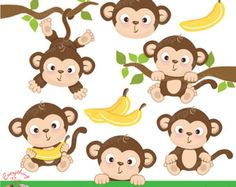 Monkey Girl Digital Clipart and Papers Monkey by LittleMoss
