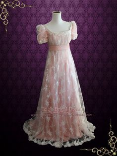 Pink Lace Regency Style Ball Gown Wedding Dress | Helena | Ieie's Bridal Wedding Dress Boutique