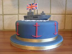 Navy Cake- USA Themed w replica of Austin's ship- homecoming