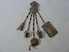 FINE ENGLISH VICTORIAN STERLING CHATELAINE HOOK W/6 ITEMS HANGING ON CHAINS #GUandVarious