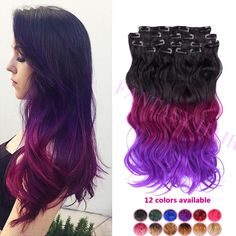Find More Clip in Hair Extensions Information about Brazilian violet ombre hair woman wavy hairpiece body wave synthetic clip in hair extensions heat resistant full head clip in,High Quality clip games,China clip in ponytails human hair Suppliers, Cheap clip extension from Fantasy Hair on Aliexpress.com