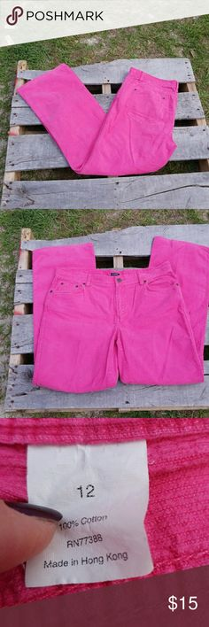 Pink corduroy JCrew pants Pink corduroy J.Crew pants. No stains or rips but have been used. No rubbing between legs. 100% cotton so no stretch. Waist is 17 inches laying flat. Mid rise. Inseam is 29 inches long, bootcut. J. Crew Pants