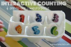 This activity is so simple and yet Big Brother loved it! All you need is an empty egg carton and some stickers (I used the Melissa & Doug Alphabet Counting Activities, Kids Learning Activities, Toddler Activities, Toddler Learning, Teaching Numbers, Teaching Tools, Teaching Kids, Student Learning, Teaching Resources